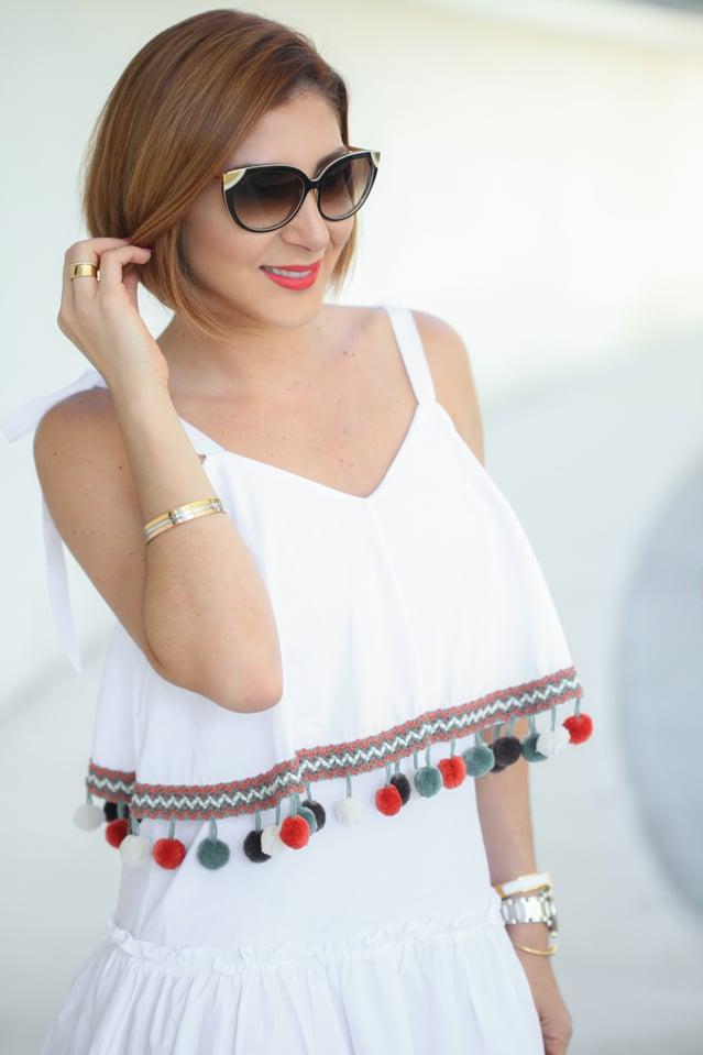 Blame it on Mei, @blameitonmei, Miami Fashion Blogger, Pom Pom Dress, Summer Outfit Look