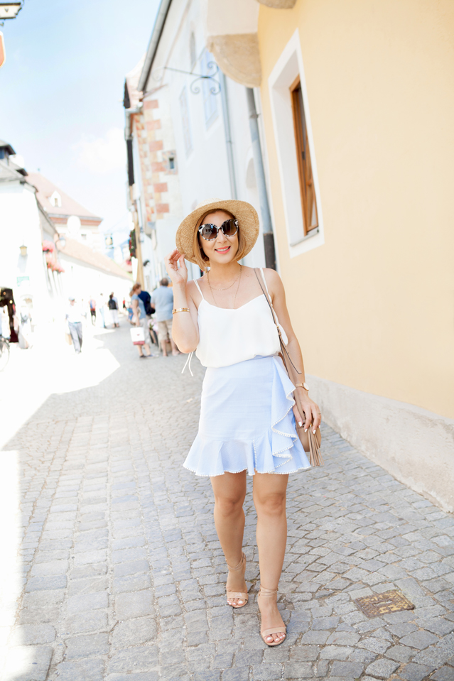 Blame it on Mei, @blameitonmei, Miami Fashion Travel Blogger, Vienna Ruffle Hem Skirt With Pom-Poms
