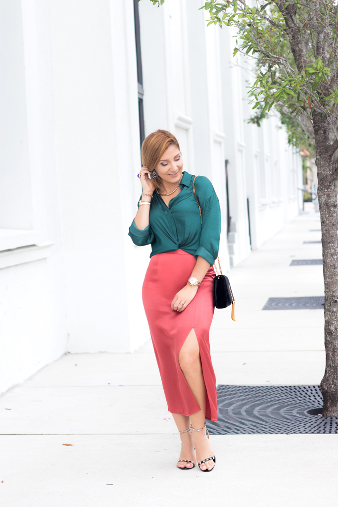 Blame it on Mei, @blameitonmei, Miami Fashion Blogger, Satin Midi Skirt Fall Autumn Look