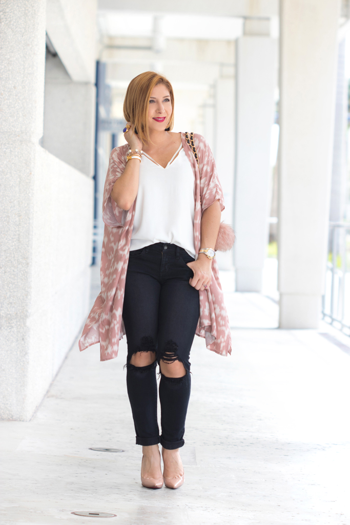 Blame it on Mei, @blameitonmei, Miami Fashion Blogger, Transition to Fall Look, Kimono, Chanel Classic Jumbo