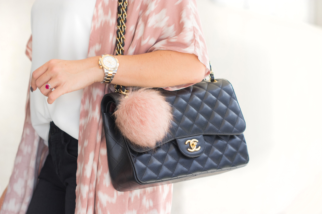 Blame it on Mei, @blameitonmei, Miami Fashion Blogger, Transition to Fall Look, Kimono, Chanel Classic Jumbo
