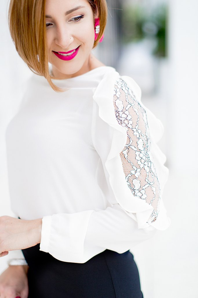 Blame it on Mei, @blameitonmei, Miami Fashion Blogger, Holiday Look, Lace Ruffle Skirt Blouse