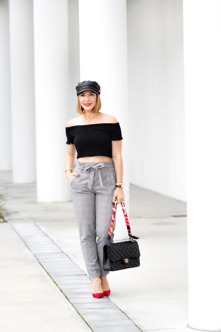 Blame it on Mei, @blameitonmei, Miami Fashion Blogger, Holiday Look, Checked Trousers Pant, Newsboy Cap