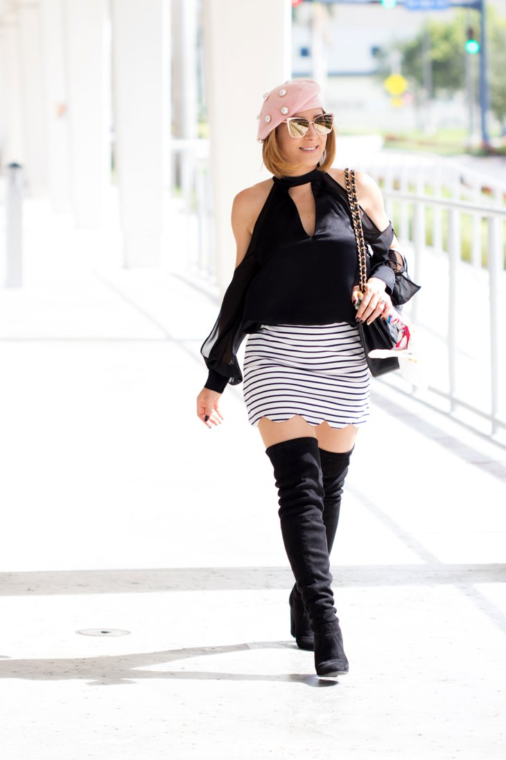 Blame it on Mei, @blameitonmei, Miami Fashion Blogger, Fall Outfit Look, Over The Knee Boots in Miami