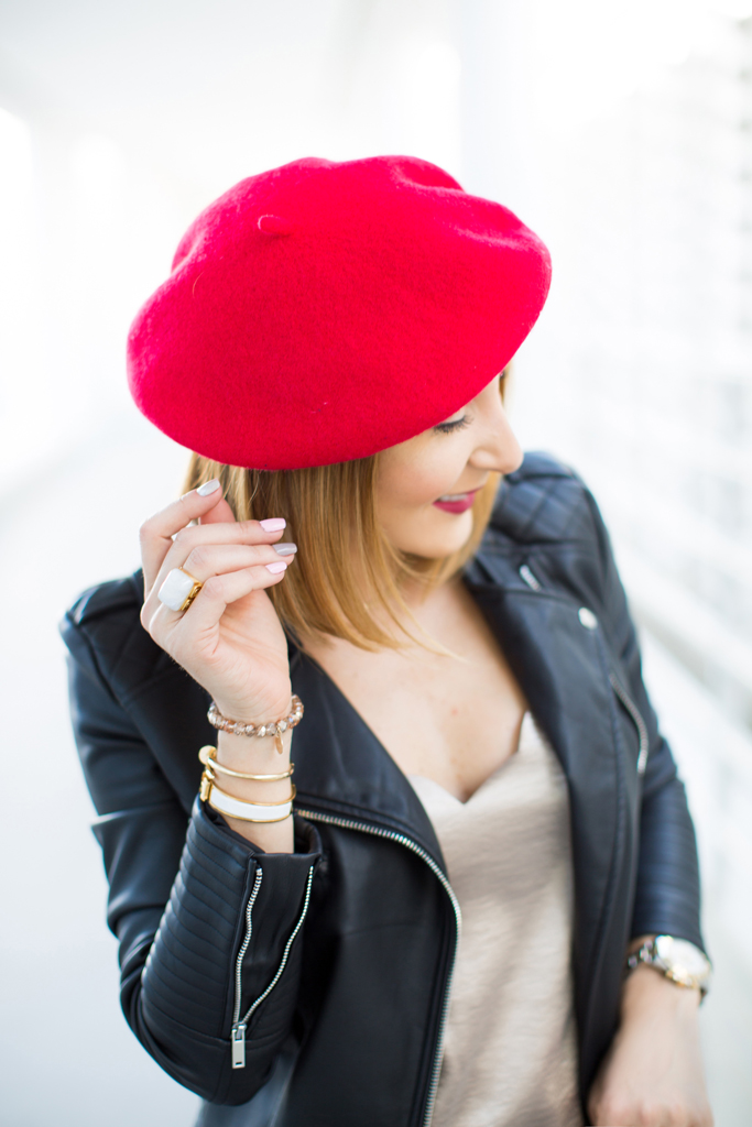 Blame it on Mei, @blameitonmei, Miami Fashion Blogger, Fall Outfit Look, Red Beret, Moto Jacket