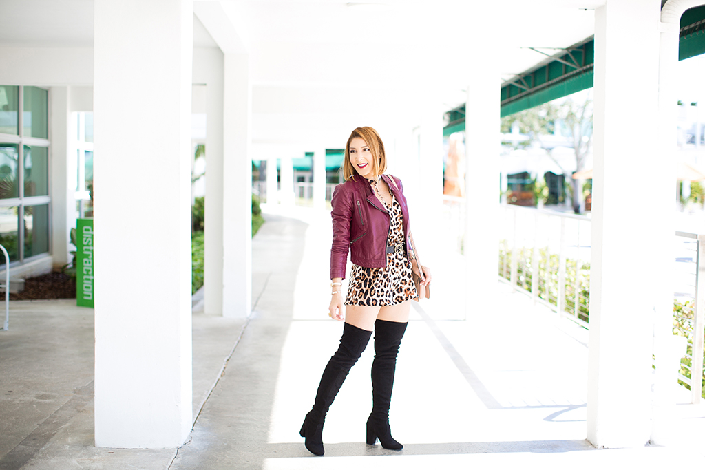 Faux Real: Leopard Romper + Over The Knee Boots
