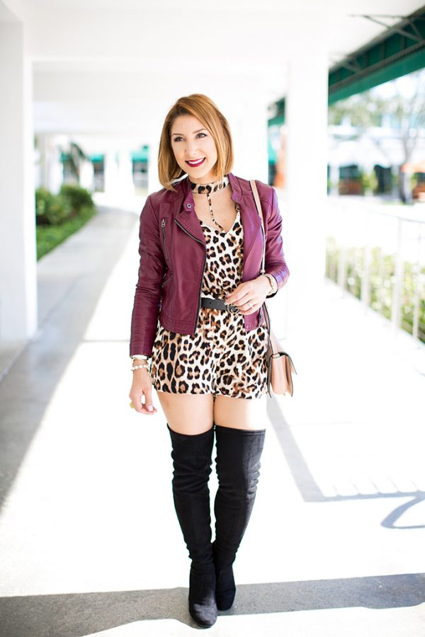 Blame it on Mei, @blameitonmei, Miami Fashion Blogger, Fall Outfit Look, OTK Over The Knee boots, Leopard Romper
