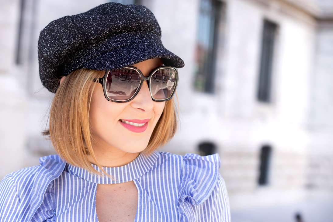 Blame it on Mei, @blameitonmei, Miami Fashion Blogger, Fall Travel Look Stripe Ruffle Top, Newsboy Hat
