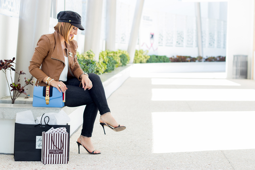 Blame it on Mei, @blameitonmei, Miami Fashion Blogger, Fall Outfit Look, Newsboy Cap, Cognac Moto Jacket