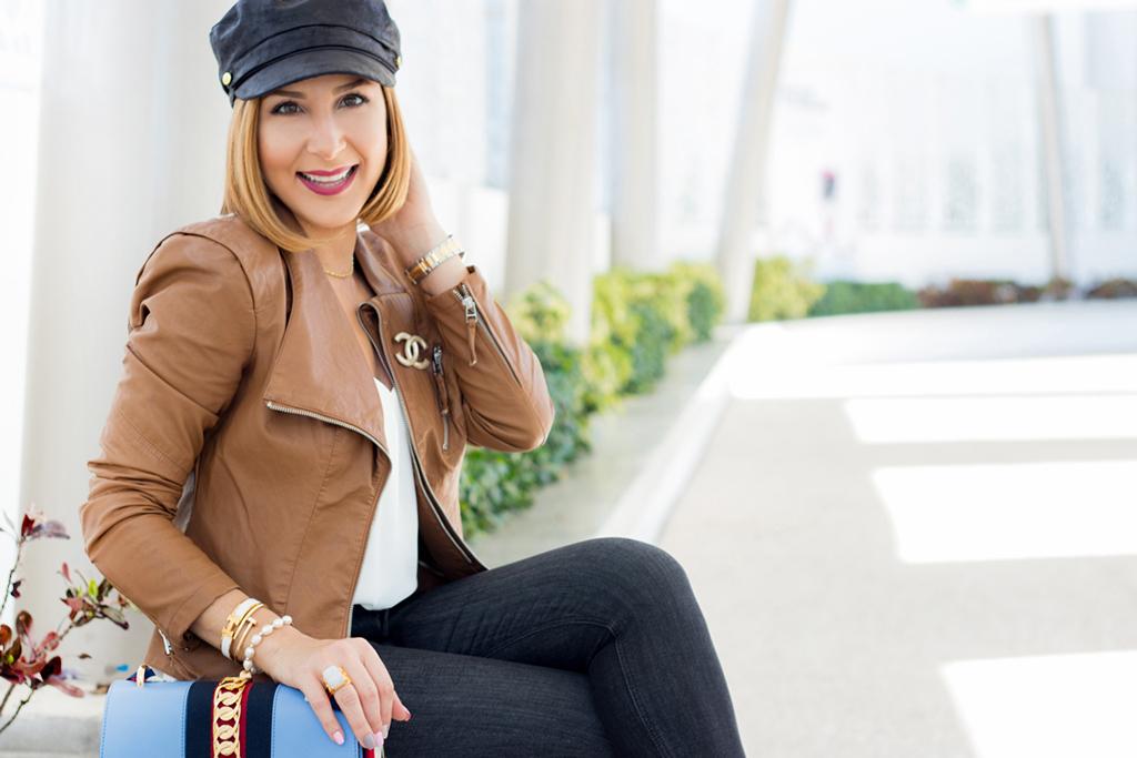 Blame it on Mei, @blameitonmei, Miami Fashion Blogger, Fall Outfit Look, Newsboy Cap, Cognac Moto Jacket