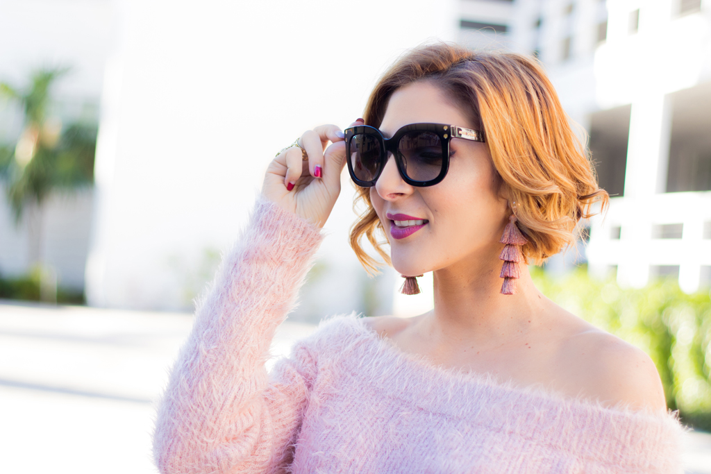 Blame it on Mei, @blameitonmei, Miami Fashion Blogger, Faux Leather Pants, Off The Shoulder Fuzzy Sweater