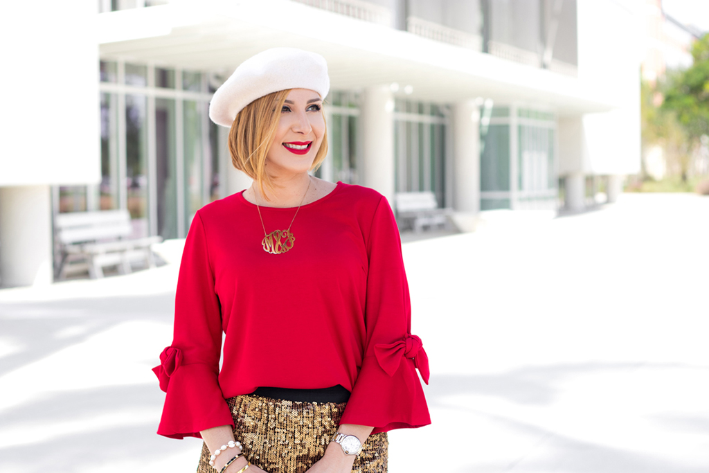 Blame it on Mei, @blameitonmei, Miami Fashion Blogger, Gold Sequin Skirt, Holiday Xmas Look