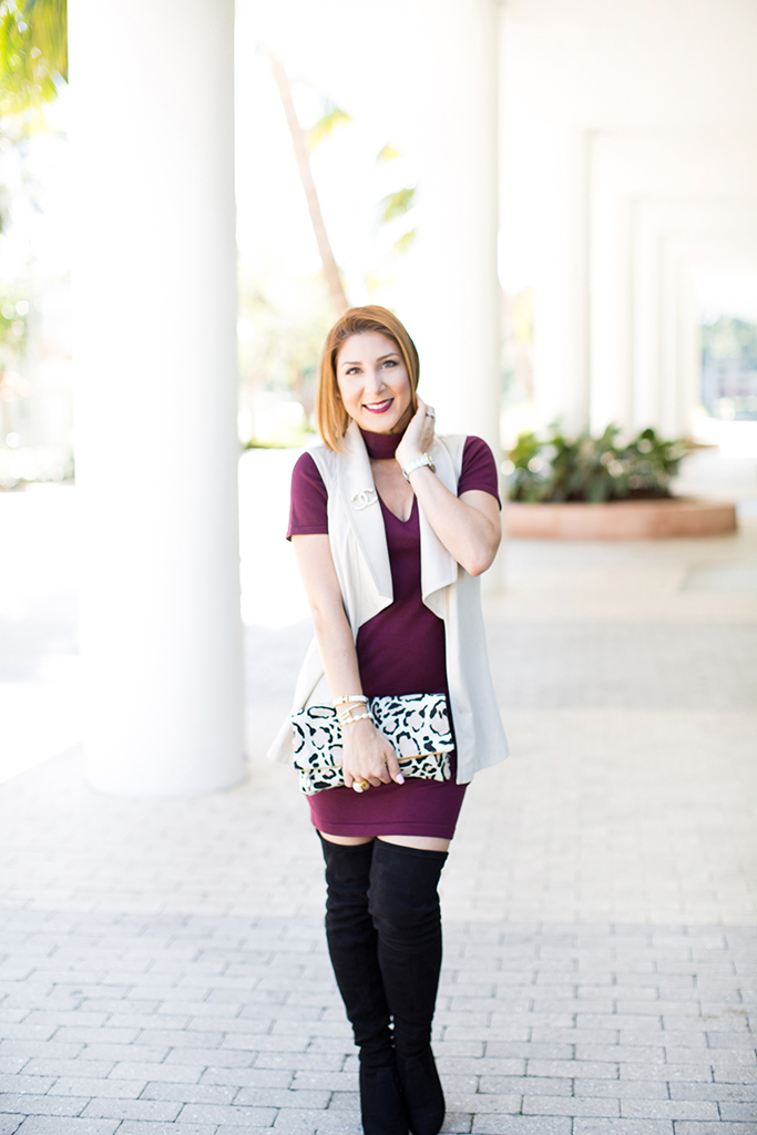 Blame it on Mei, @blameitonmei, Miami Fashion Blogger, Fall Outfit, Mock Neck Dress, Over The Knee Boots