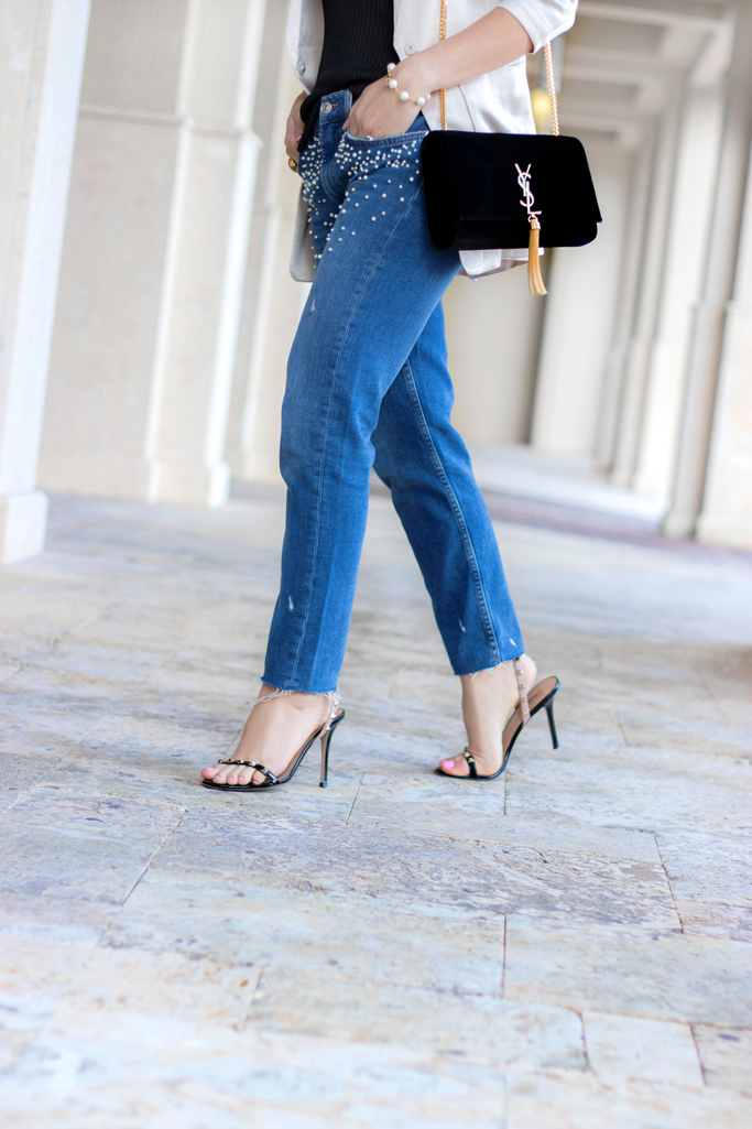 Blame it on Mei, @blameitonmei, Miami Fashion Blogger, How To Wear Pearl Jeans, Lace Cami