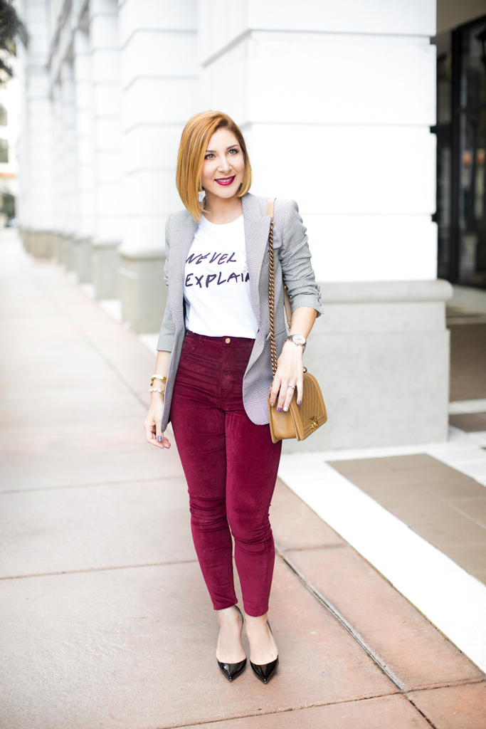 Blame it on Mei, @blameitonmei, Miami Fashion Blogger, How To Wear Graphic T Shirt Checked Blazer