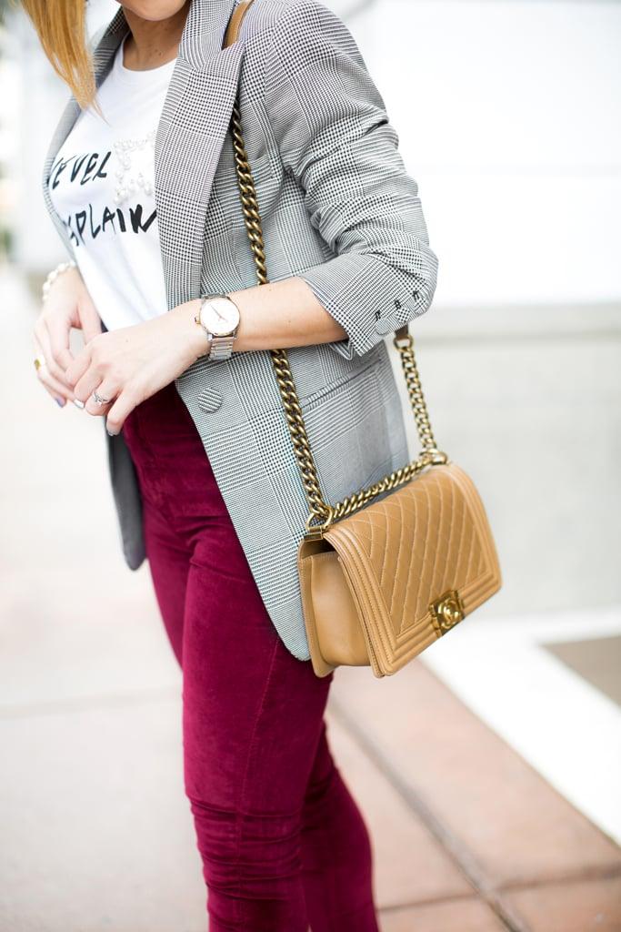 Blame it on Mei, @blameitonmei, Miami Fashion Blogger, How To Wear Graphic T Shirt Checked Blazer