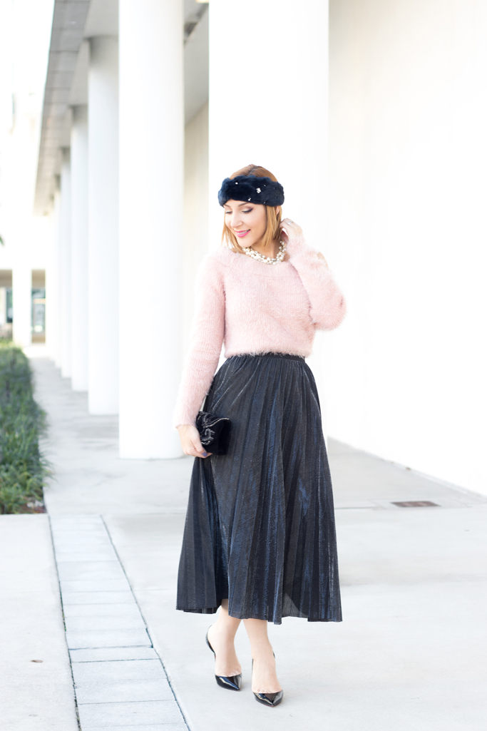 Blame it on Mei, @blameitonmei, Miami Fashion Blogger, Metallic Pleated Skirt