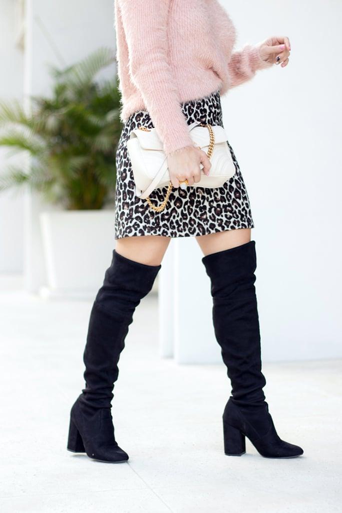 Blame it on Mei, @blameitonmei, Miami Fashion Blogger, Leopard Mini Skirt With OTK Boots