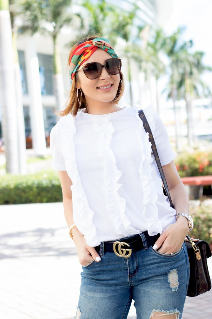 Blame it on Mei, @blameitonmei, Miami Fashion Blogger, Ruffle Top, Spring Casual Look Outfit
