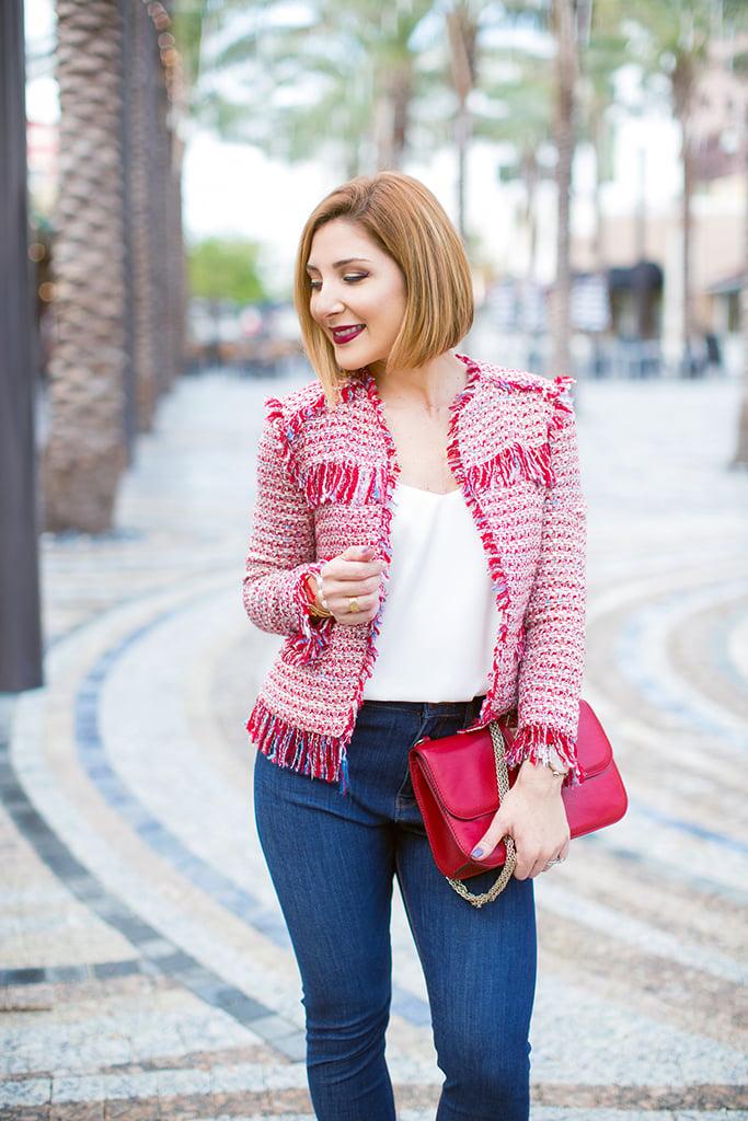 Blame it on Mei, @blameitonmei, Miami Fashion Blogger, Tweed Jacket, High Waist Jeans