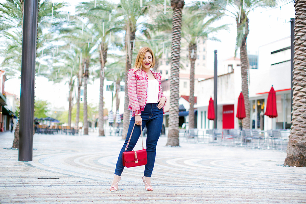 Blame it on Mei, @blameitonmei, Miami Fashion Blogger, Tweed Jacket, High Waist Jeans