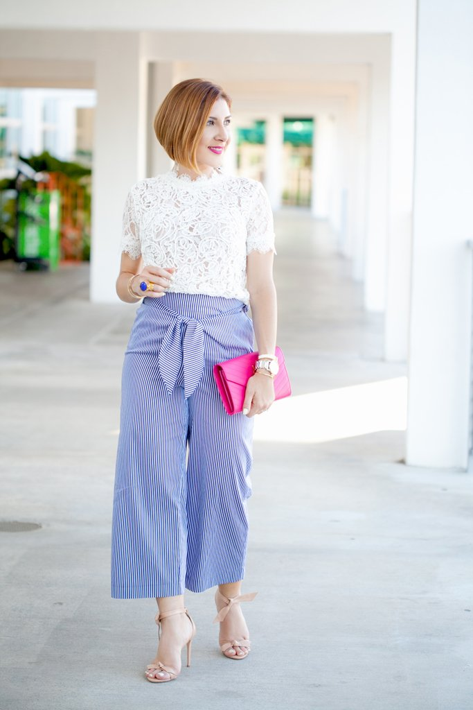 Blame it on Mei, @blameitonmei, Miami Fashion Blogger, stripe culottes