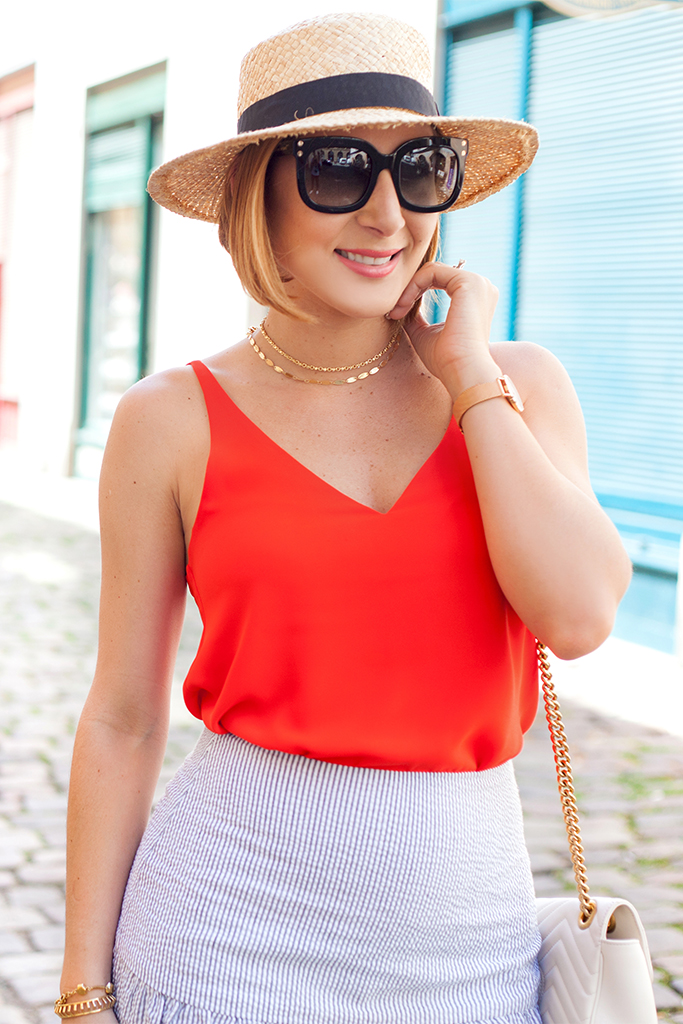 Blame it on Mei, @blameitonmei, Miami Fashion Blogger, Summer Travel Look, Seersucker Ruffle Skirt