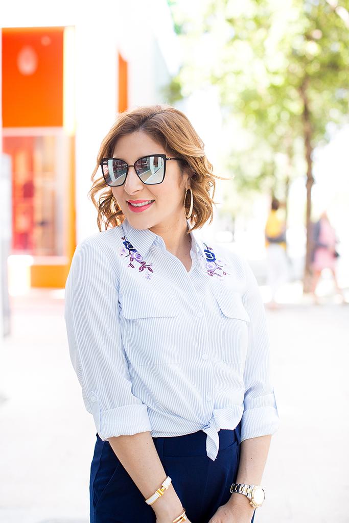 Blame it on Mei, @blameitonmei, Miami Fashion Blogger, Stripe Top Jersey Pants