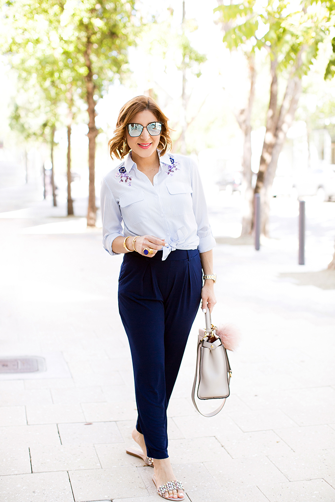 Blame it on Mei, @blameitonmei, Miami Fashion Blogger, Stripe Top Jersey Pants