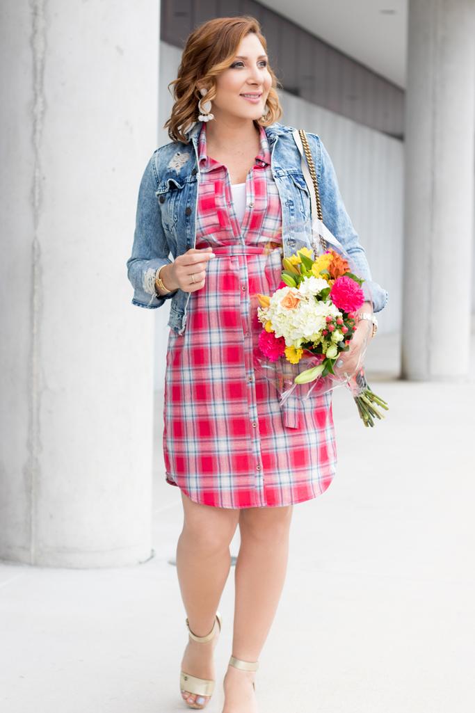 Blame it on Mei, @blameitonmei, Miami Fashion Blogger, Plaid Shirt Dress, Maternity Look