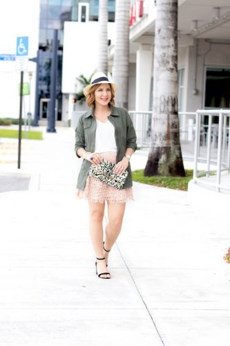 Blame it on Mei, @blameitonmei, Miami Fashion Blogger, Utility Jacket Crochet Eyelet Mini Skirt