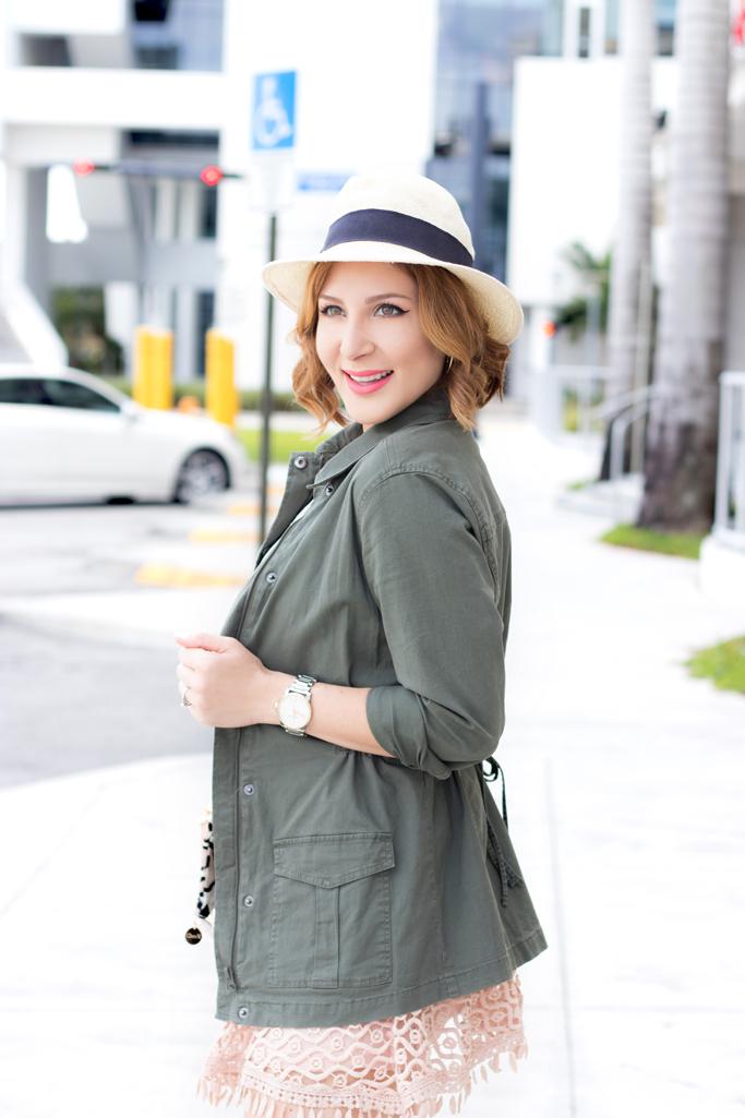 Blame it on Mei, @blameitonmei, Miami Fashion Blogger, Utility Jacket Crochet Eyelet Mini Skirt