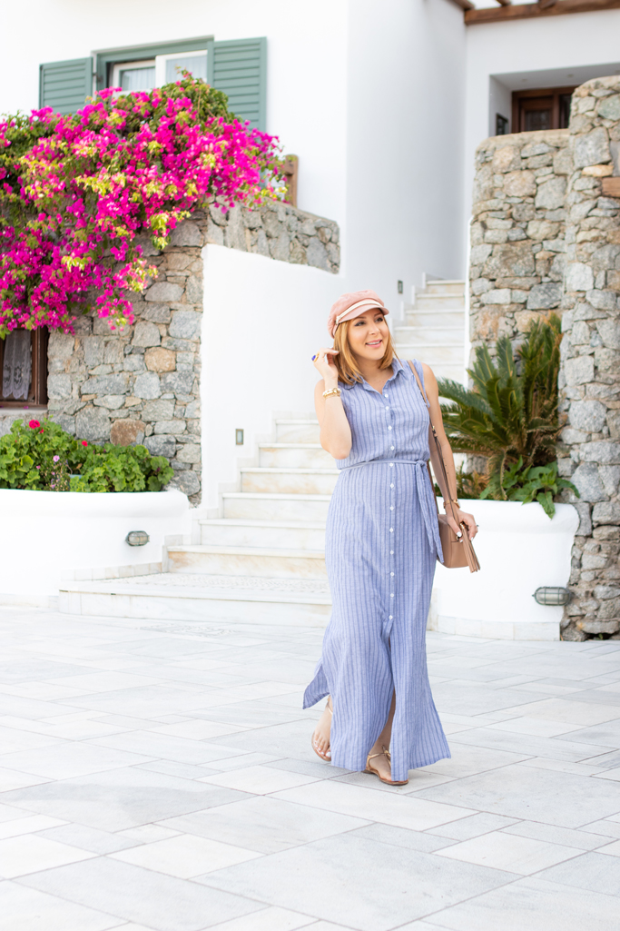Blame it on Mei, @blameitonmei, Miami Fashion Travel Blogger, Shirt Dress, Mykonos, Travel Maternity Look