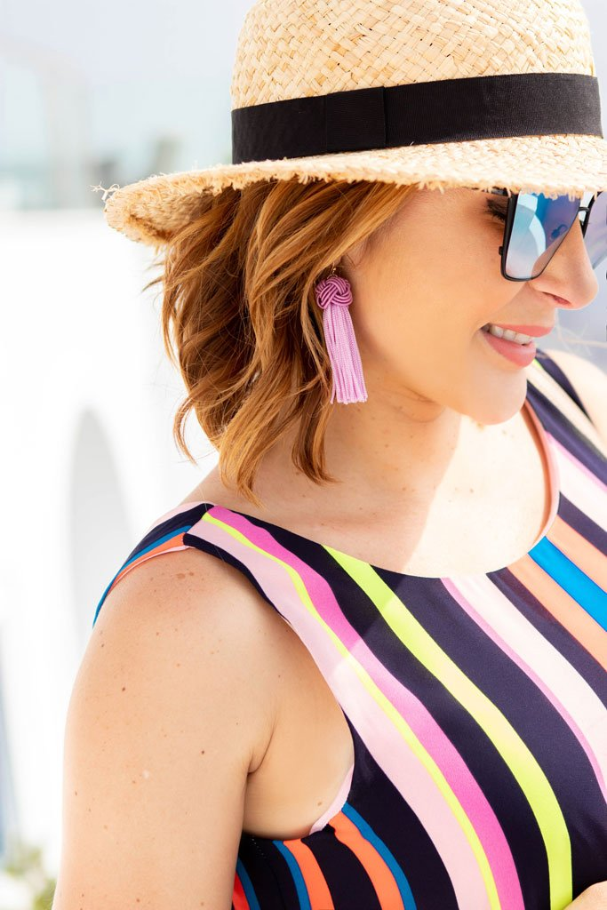 Blame it on Mei @blameitonmei, Miami Fashion Travel Blogger Maternity Look, Stripe Dress, Santorini Greece