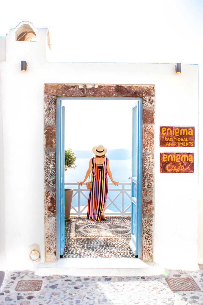 Blame it on Mei @blameitonmei, Miami Fashion Travel Blogger Maternity Look, Stripe Dress, Santorini Greece