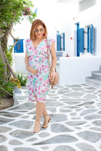 Blame it on Mei, @blameitonmei, Miami Fashion, Travel Blogger, Floral Wrap Dress, Mykonos Travel Guide, Travel Maternity Look