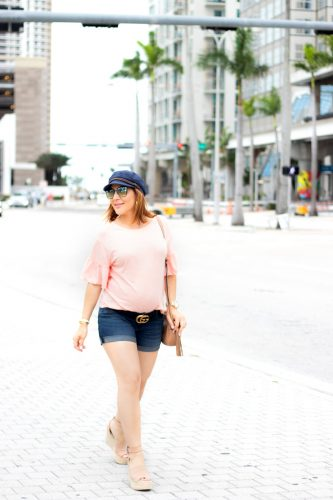 Blame it on Mei, @blameitonmei, Miami Fashion Blogger, Insecurity while Pregnant, Ruffle Sleeve T-Shirt, Maternity Look