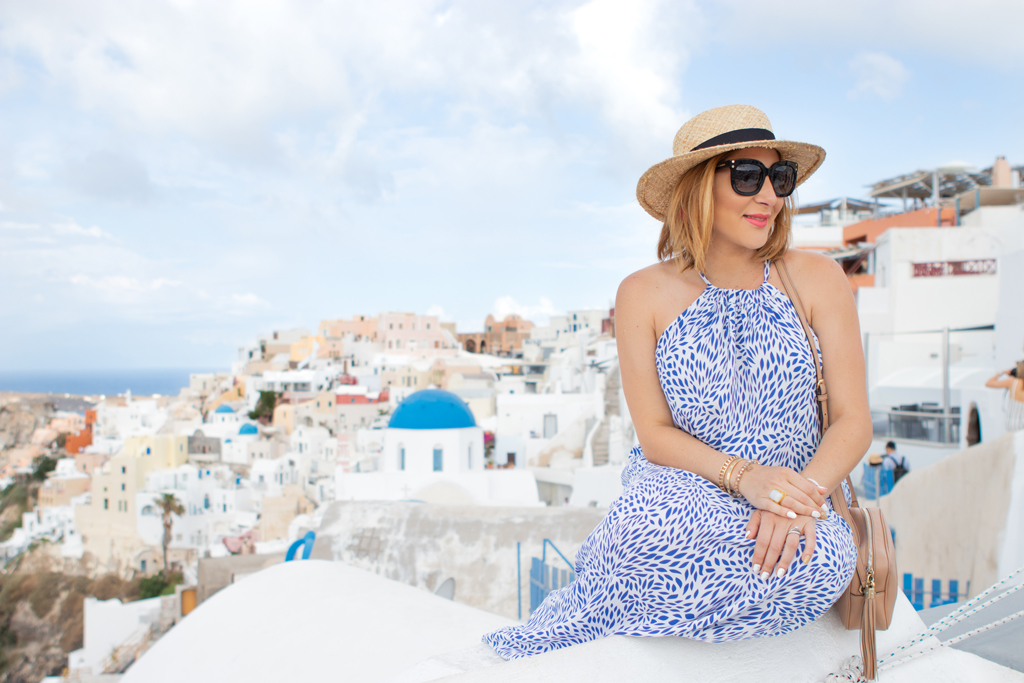 Blame it on Mei, @blameitonmei Miami Fashion Travel Blogger ,Halter Maxi Dress, Santorini Travel Guide, Maternity Travel Look
