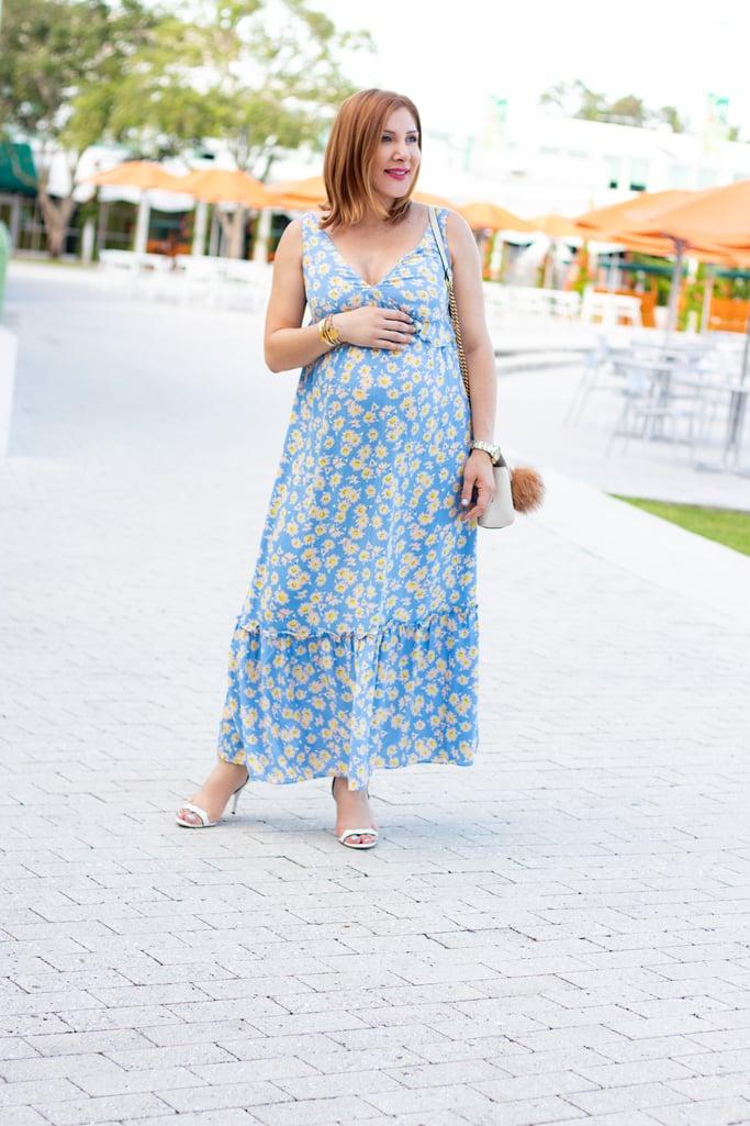 Blame it on Mei, @blameitonmei, Miami Fashion Blogger, Maternity Outfit, Empire Waist Maxi Dress