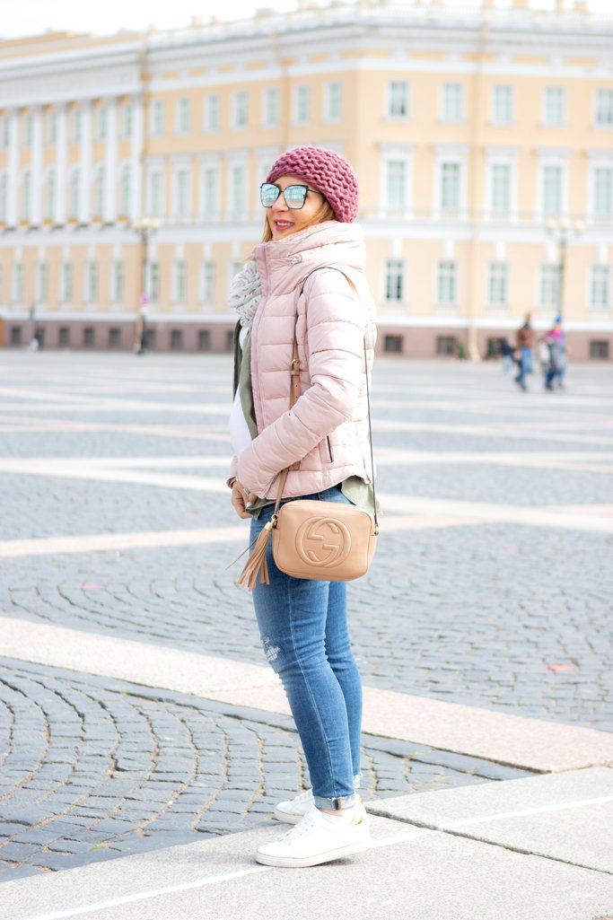 Blame it on Mei, @blameitonmei, Miami Fashion Travel Blogger, What To Wear To Russia, Puffer Jacket, The Palace Square, St. Petersburg Russia