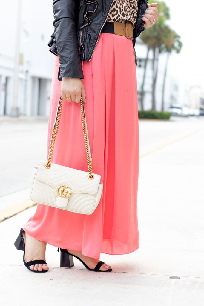 Blame it on Mei, Miami Fashion Blogger, How to wear animal print leopard, maxi coral skirt, pantone color of the year living coral, ruffle faux leather jacket