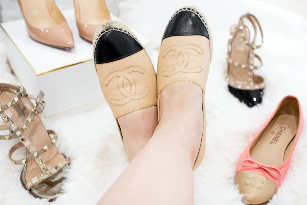 Blame it on Mei, Miami Fashion Blogger, Best Timeless Designer Shoes To Invest In, Valentino Rockstuds, Chanel Espadrilles, Chanel Ballerinas, Christian Louboutin Decolette