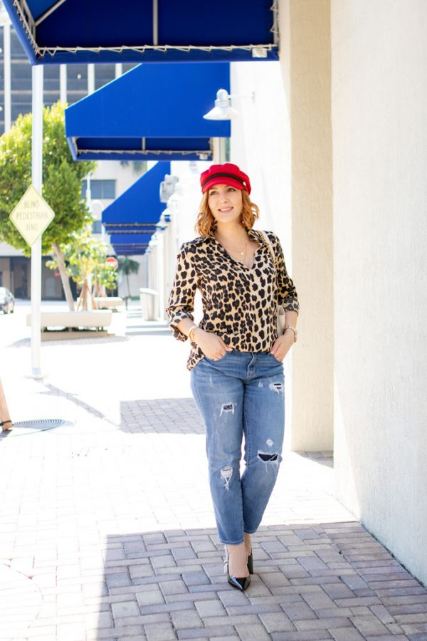 Blame it on Mei, Miami Fashion Mommy Blogger, Working With Brands, Finding PR Contacts, Leopard Top, Red Baker Boy Hat