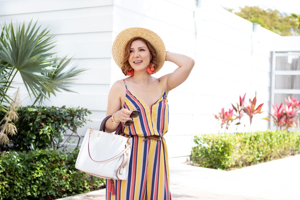 Blame it on Mei, @blameitonmei, Miami Fashion Blogger, Spring Look Under $100, Stripe Jumpsuit
