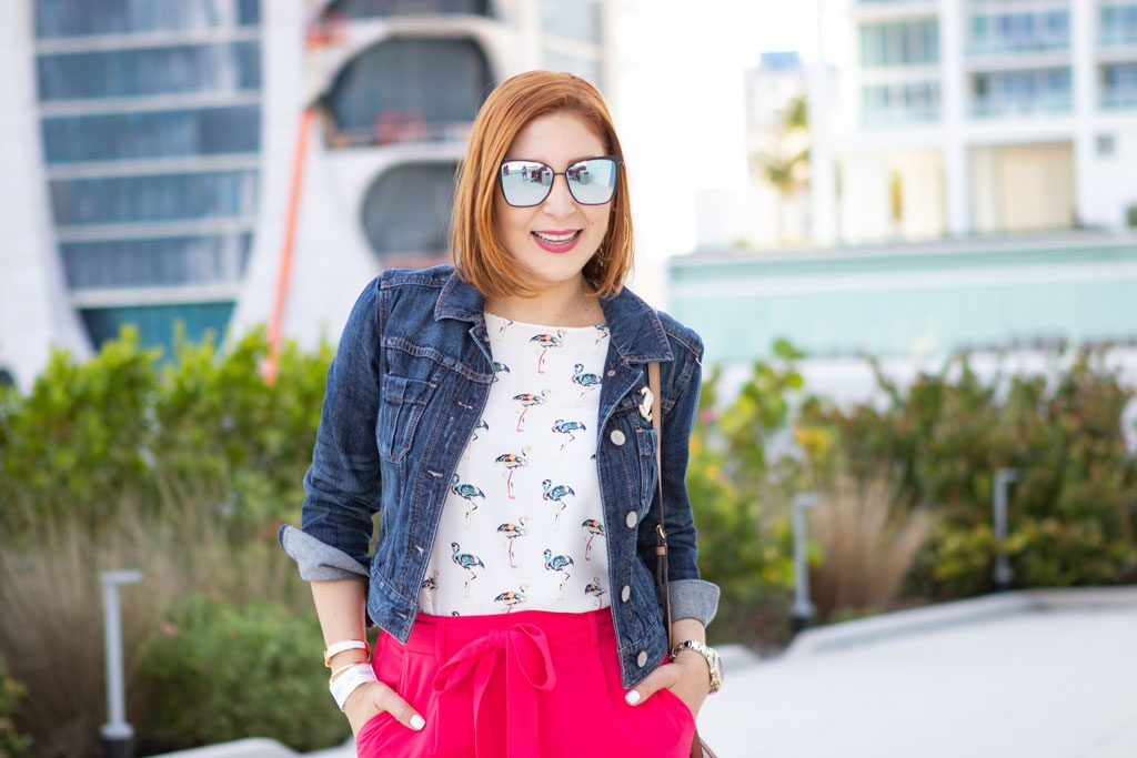 Blame it on Mei, @blameitonmei, Miami Fashion Mommy Blogger, Summer Activities For Kids in Miami, Flamingo Top, Denim Jacket, Wide Leg Pants